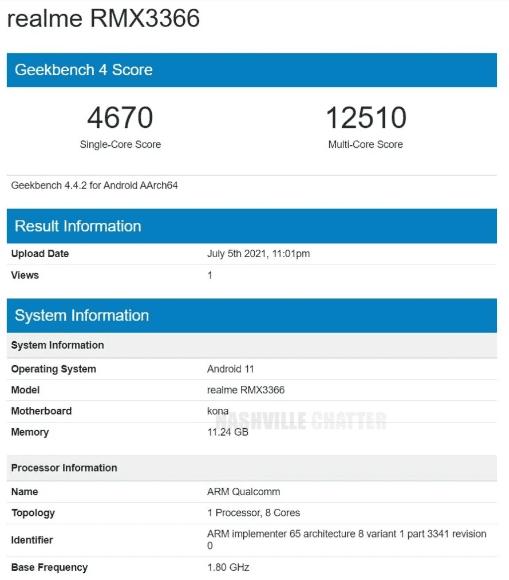 Предполагаемый Realme GT Master Edition обнаружен на Geekbench