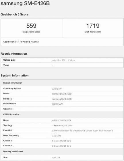 Список Samsung Galaxy F42 5G на Geekbench раскрывает ключевые детали