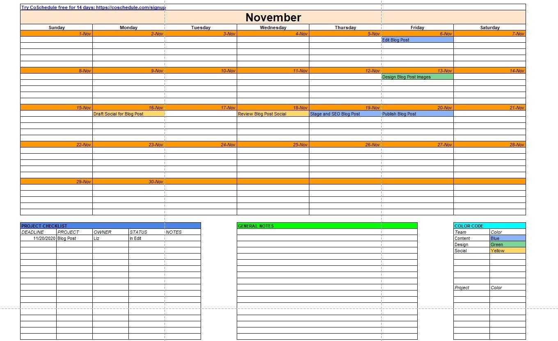 календарь контента