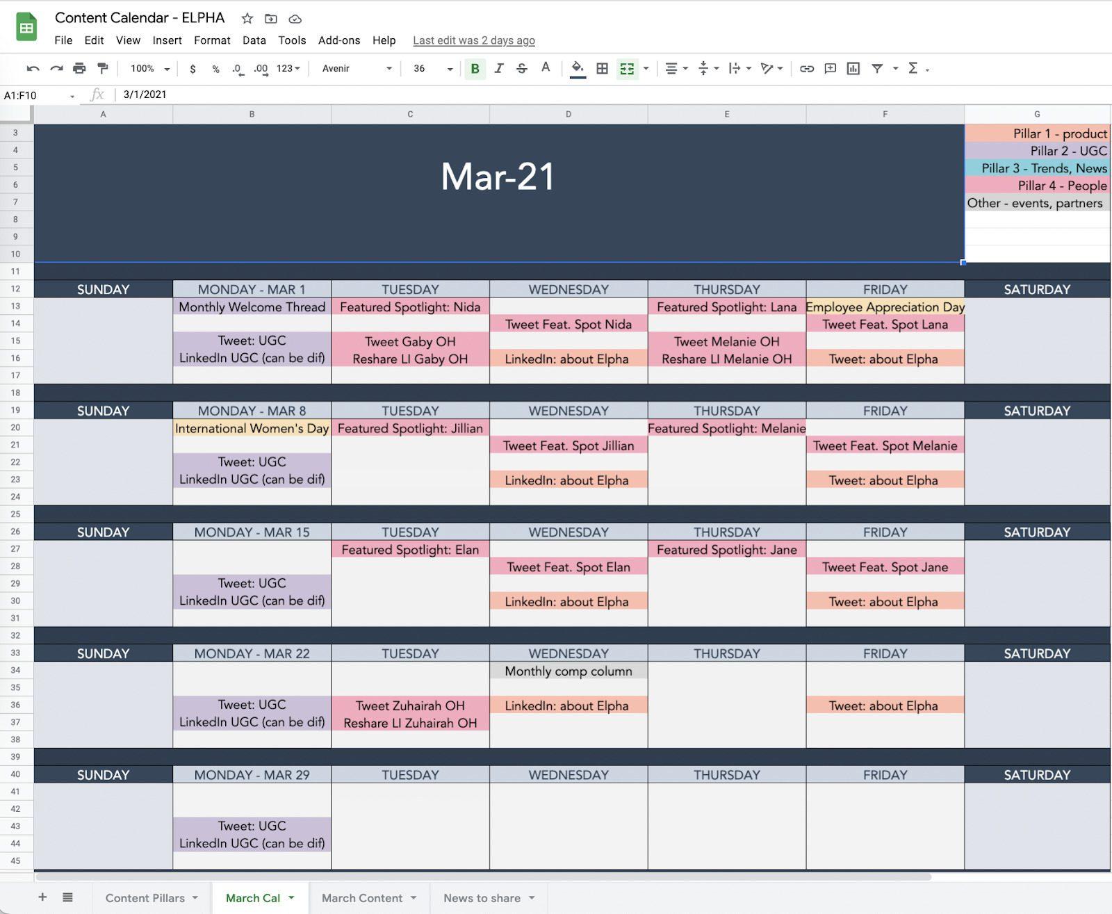 Цветной календарь социальных сетей