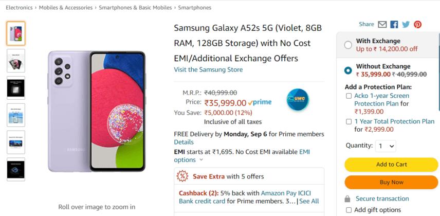 Samsung Galaxy A52s 5G выставлен на продажу на Amazon India