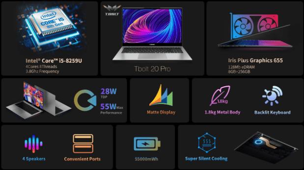 Teclast представила мощный ноутбук Tbolt 20 Pro с 15,6-дюймовым дисплеем Full HD