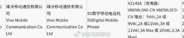 Предполагаемый Vivo X70 Pro + с номером модели V2145A фигурирует в сертификате 3C