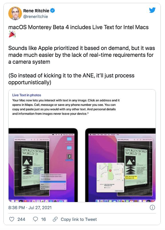 macOS Monterey Beta 4 обеспечивает живой текст на компьютерах Mac на базе Intel