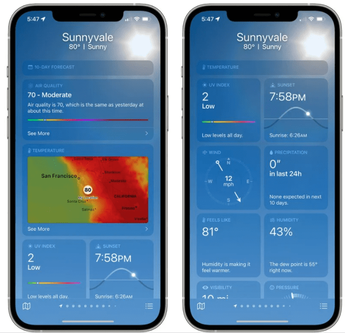 iOS 15: всё новое в приложении Погода
