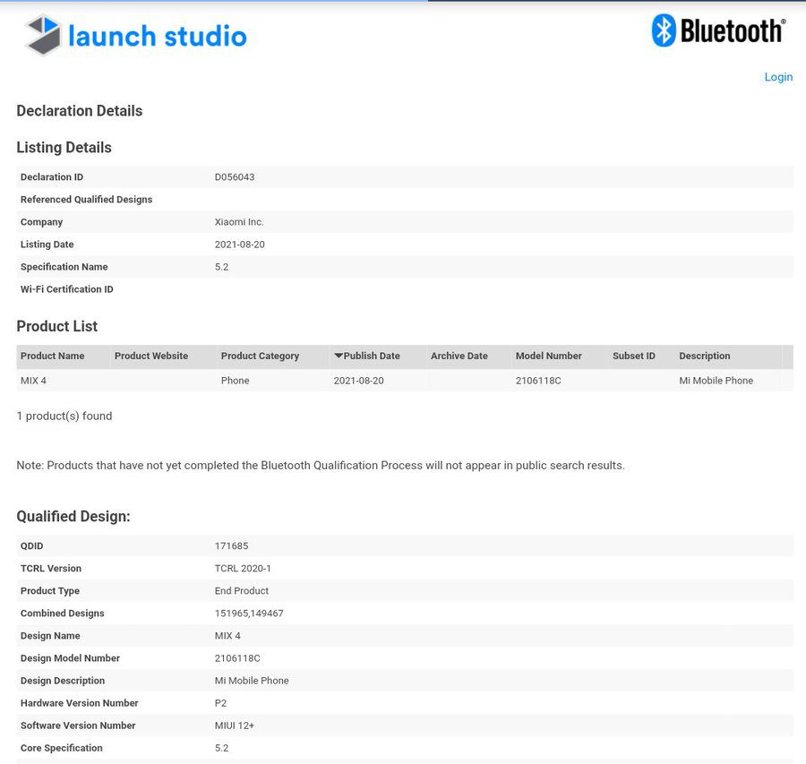 Xiaomi Mi MIX 4 получил сертификацию Bluetooth SIG