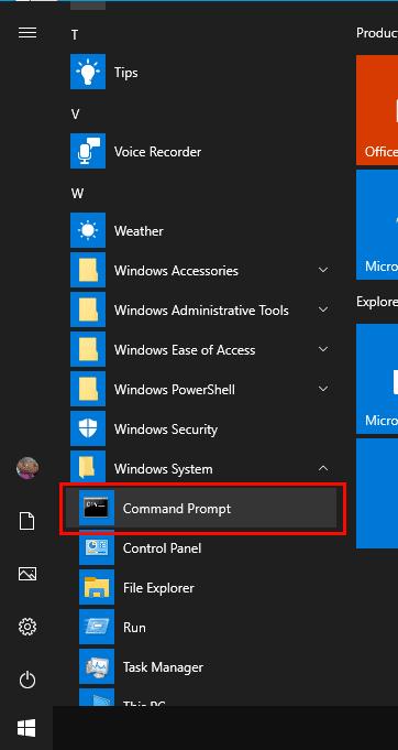 Командную строку можно найти в разделе «Система Windows» меню «Пуск».
