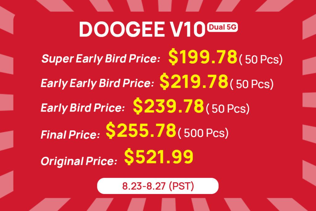 Doogee V10 5G поступит в продажу 23 августа со скидкой 60%