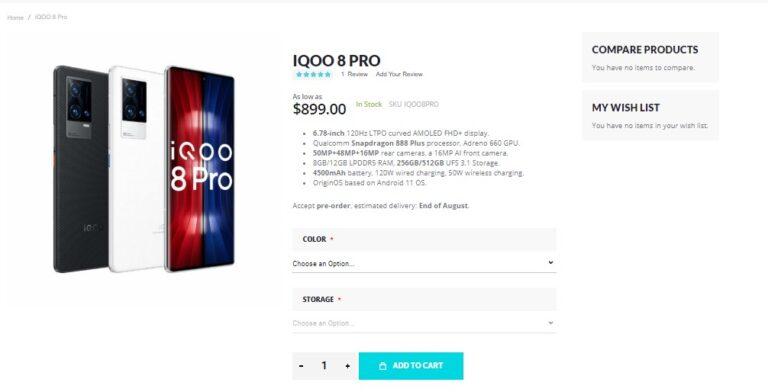 Предварительные заказы на iQOO 8 и iQOO 8 Pro теперь доступны через Giztop