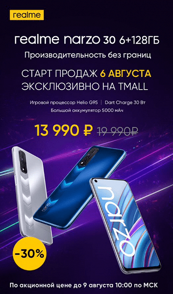 Realme анонсировала продажи в России смартфона Narzo 30 с 4G