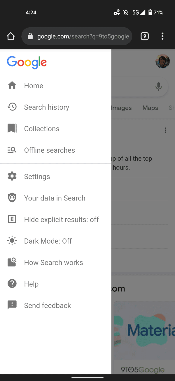 Google выпустила тёмную тему для веб-версии поиска