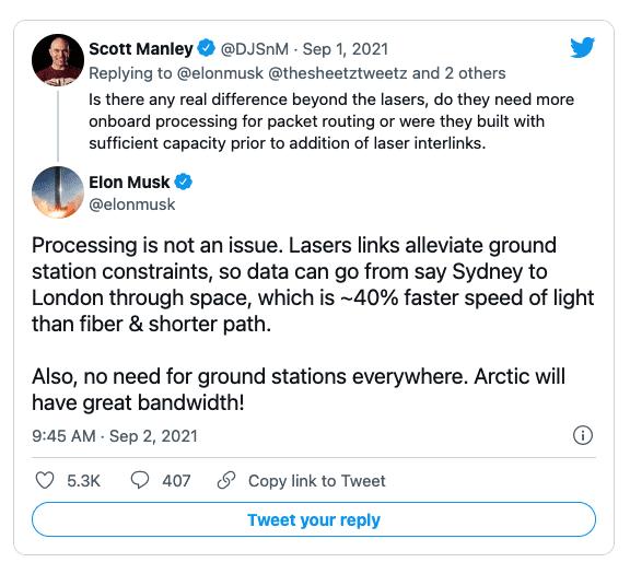Илон Маск планирует увеличить скорость передачи данных StarLink в несколько раз