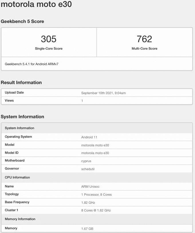 Обнаружена Motorola Moto E30 с процессором Unisoc и 2 ГБ оперативной памяти