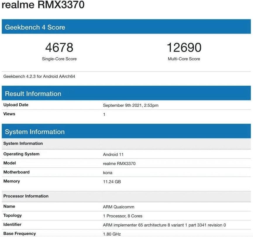 Realme GT Neo2 появляется на Geekbench с процессором Snapdragon 870 SoC