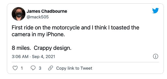 Apple предупреждает, что вибрации, исходящие от мощных двигателей мотоциклов, могут повредить камеры iPhone