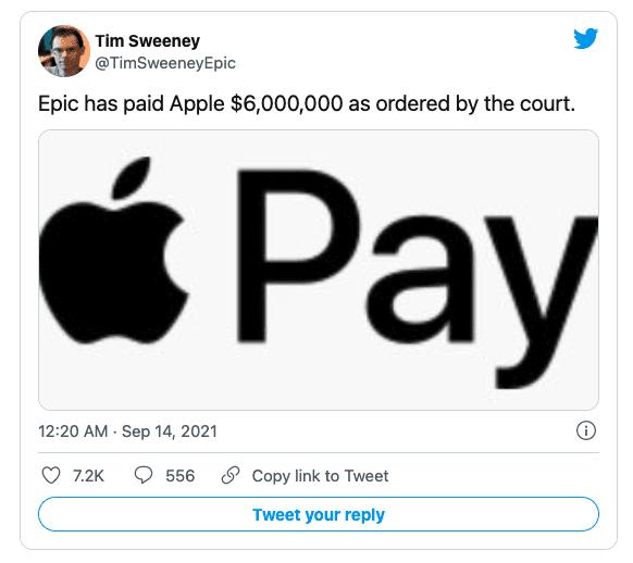 Разработчик игр Epic Games сегодня выплатила Apple 6 миллионов долларов по решению суда